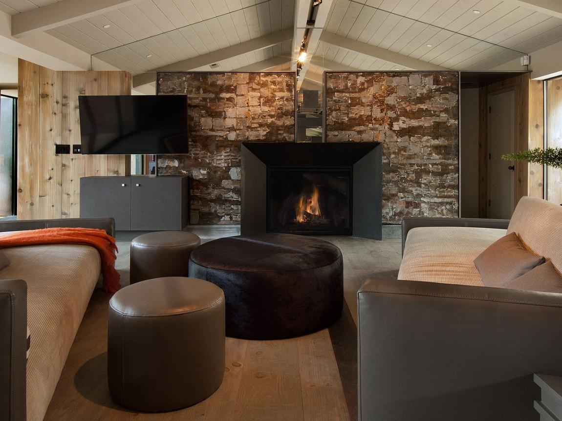Камин в интерьере гостиной - Фото 40