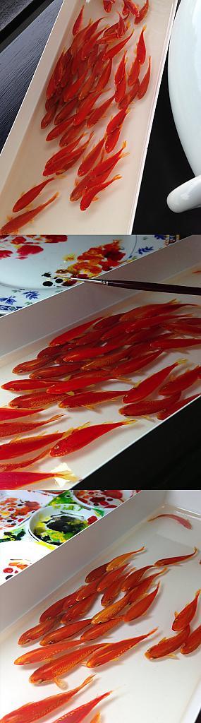 Рисунок рыбок в посудине