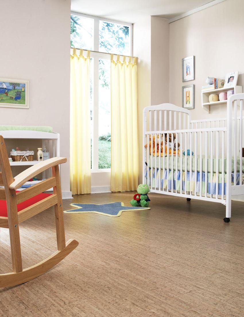 Пробковые полы в интерьере детской комнаты