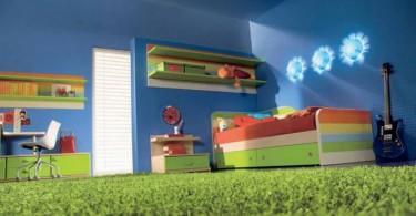 Красочный ковёр в интерьере детской комнаты
