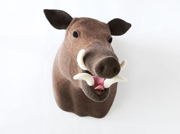 Вязаные игрушки: голова кабана
