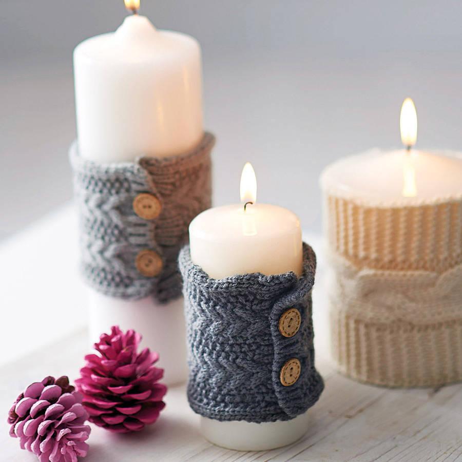 Вязанное украшение свечи