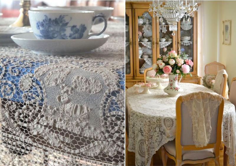 Вязанная скатерть и салфетка для стола