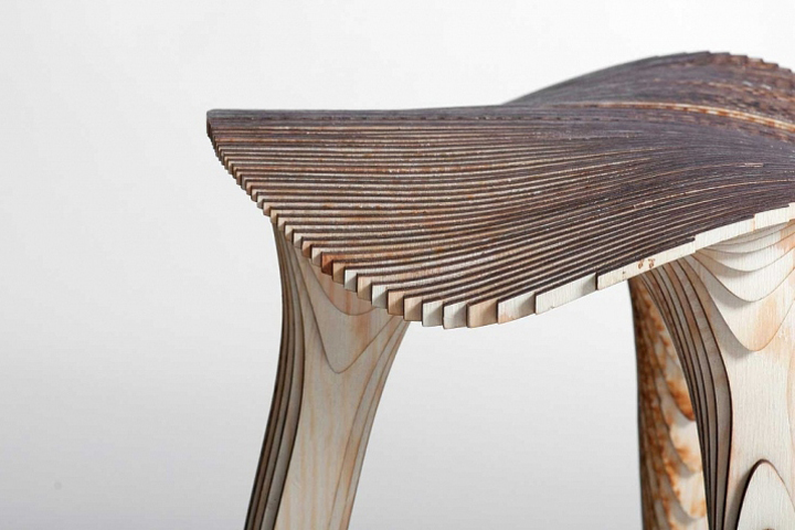 Plywood stool in three different designs and colors