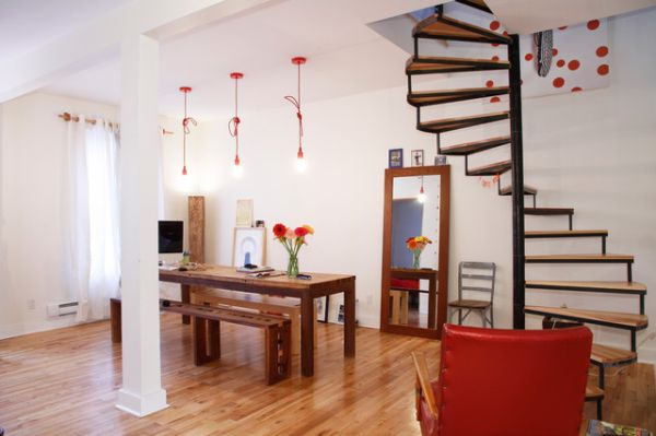 Красивая лестница в интерьере помещения