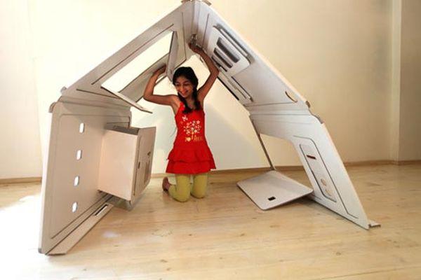 Детский игровой домик из картона