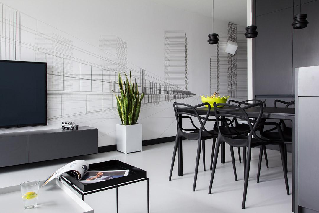 Дизайн интерьера квартиры в черно-белом цвете
