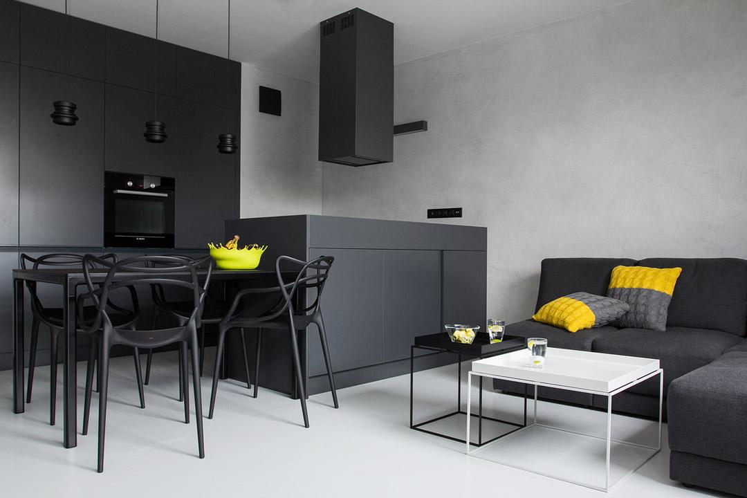 Красивый дизайн интерьера квартиры в черно-белом цвете