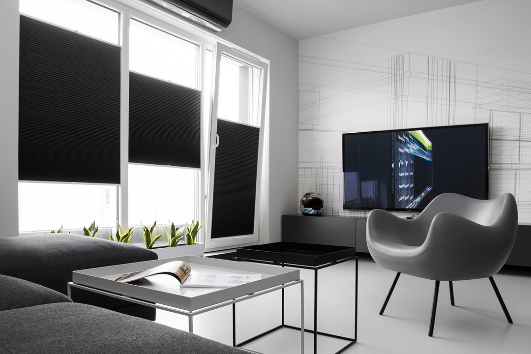 Восхитительный дизайн интерьера квартиры в черно-белом цвете