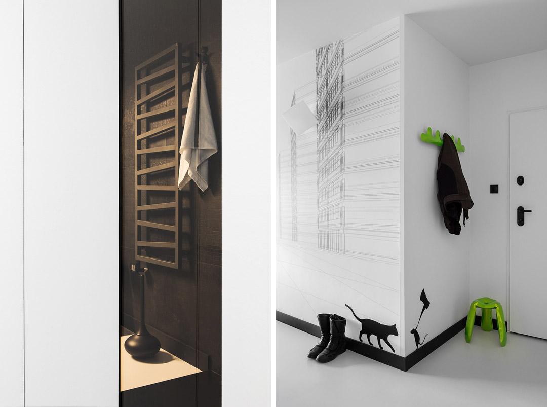 Прелестный дизайн интерьера квартиры в черно-белом цвете