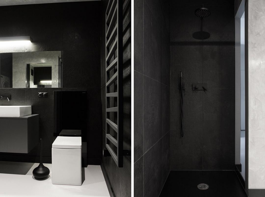 Дизайн санузла в квартире в черно-белом цвете