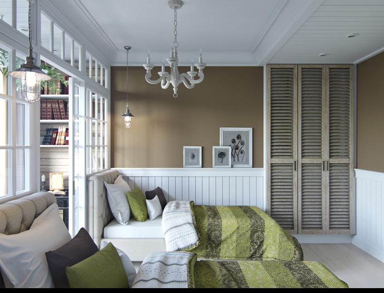 Квартиры в стиле прованс: стены цвета хаки в спальни