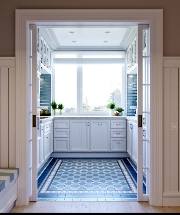 Квартиры в стиле прованс: бело-голубой интерьер кухни
