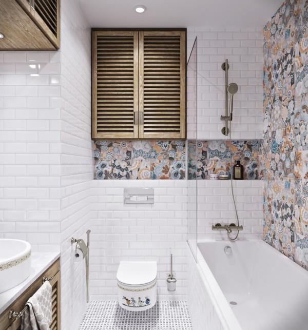 Квартиры в стиле прованс: белая плитка с оригинальным декором в ванной