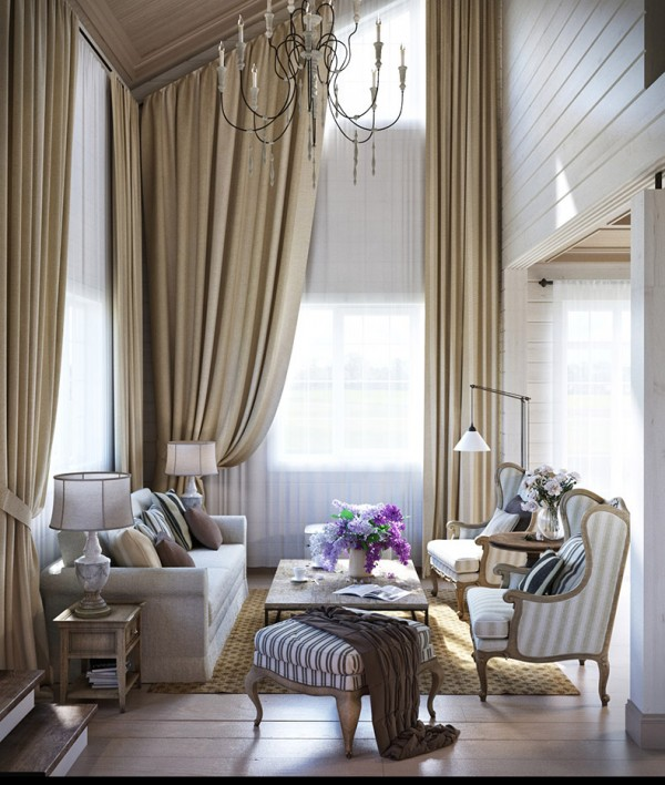 Квартиры в стиле прованс: бежево-белый интерьер зала