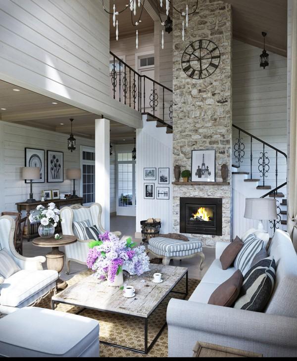 Квартиры в стиле прованс: камин с каменной отделкой