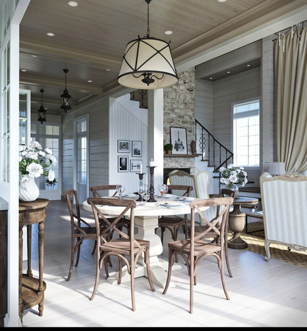 Квартиры в стиле прованс: деревянные стулья в столовой