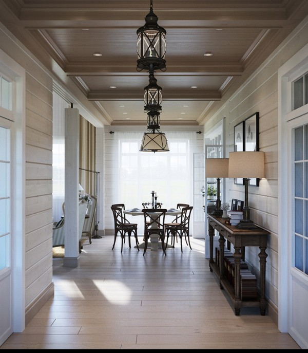Квартиры в стиле прованс: деревянная отделка потолка в коридоре