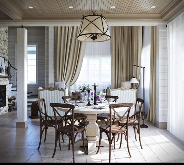 Квартиры в стиле прованс: оригинальный светильник над столом