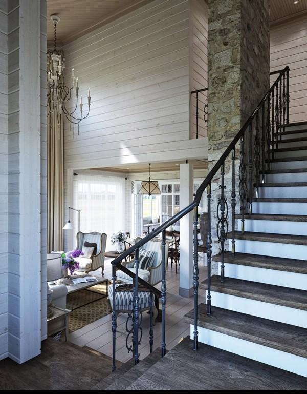 Квартиры в стиле прованс: кованые перила на лестнице