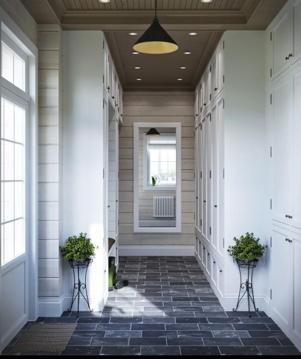 Квартиры в стиле прованс: серая половая плитка