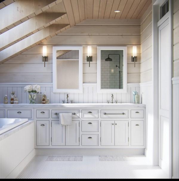 Квартиры в стиле прованс: белые тумбочки в ванной