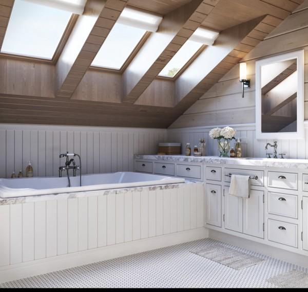 Квартиры в стиле прованс: потолочные окна в ванной комнате