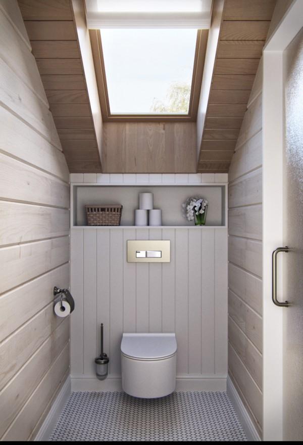 Квартиры в стиле прованс: светло-бежевые стены в уборной