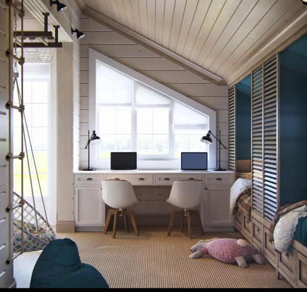 Квартиры в стиле прованс: светлая комната под крышей