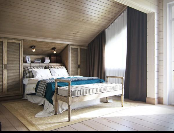 Квартиры в стиле прованс: светлый деревянный пуфик