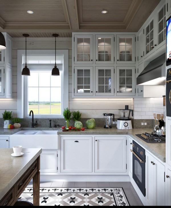 Квартиры в стиле прованс: каменная столешница на кухне