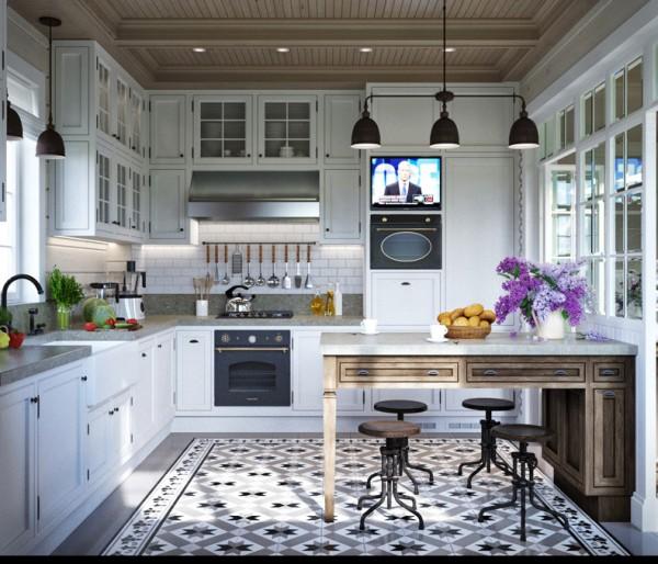 Квартиры в стиле прованс: чёрные светильники на кухне