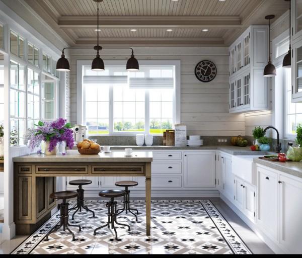 Квартиры в стиле прованс: оригинальная плитка на полу в кухне