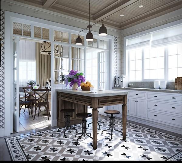 Квартиры в стиле прованс: деревянная отделка потолка на кухне