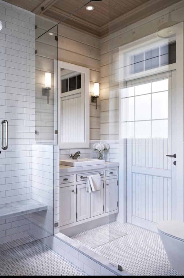Квартиры в стиле прованс: зеркало в деревянной рамке в ванной комнате