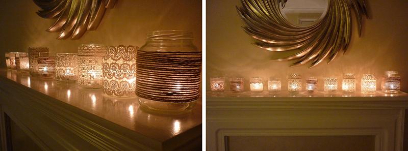 Кружевные светильники из банок