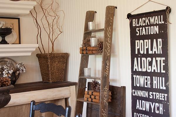 Полки и стеллажи, стилизованные под лестницу