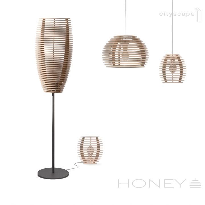 Лампы из дерева в виде пчелиных ульев