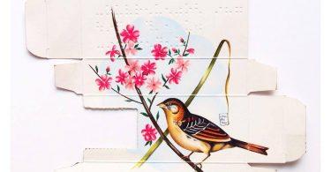 Сара Ландета: изображения птиц на коробочках из-под медицинских препаратов