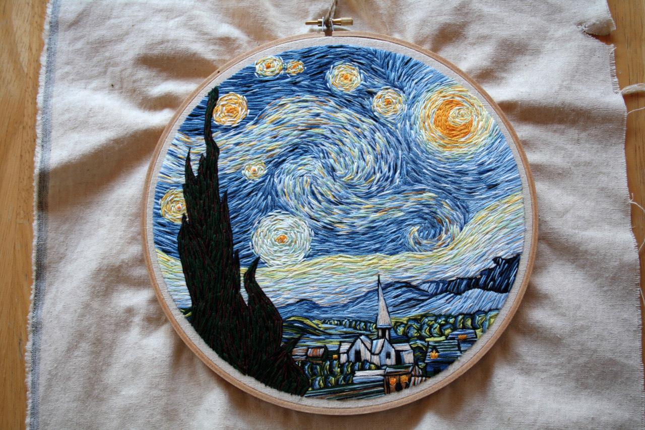 Вышивка картина ван гог звездная ночь