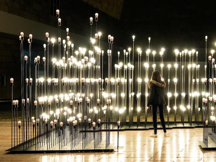 Превосходная световая композиция в центре столицы Португалии