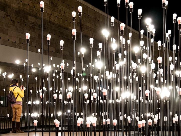 Креативная световая композиция в центре столицы Португалии