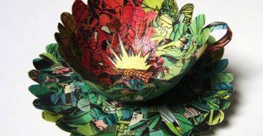 Сесилия Леви: бумажная посуда из старых книг и журналов