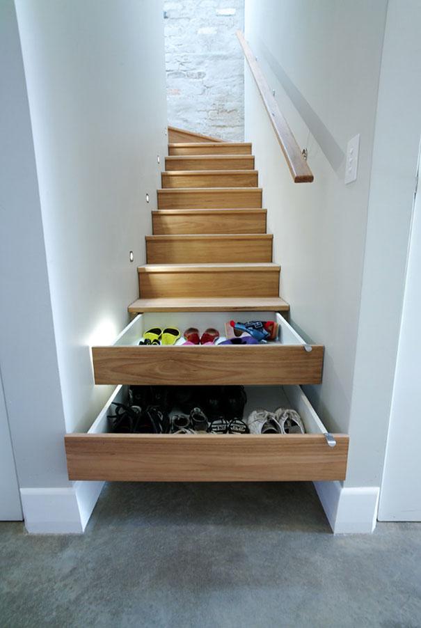 Выдвижные ящики из ступенек лестницы