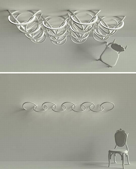 Необычные узоры с помощью колец вмонтированных в стену