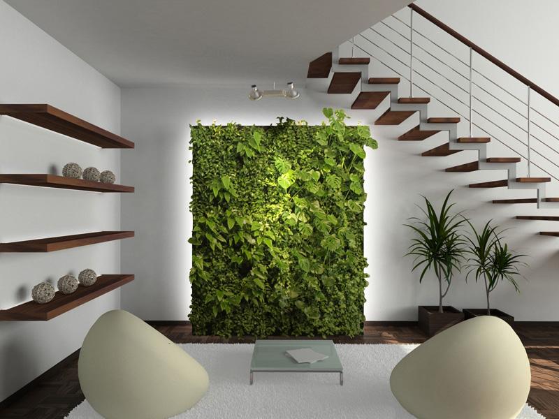Растительная стена с подсветкой
