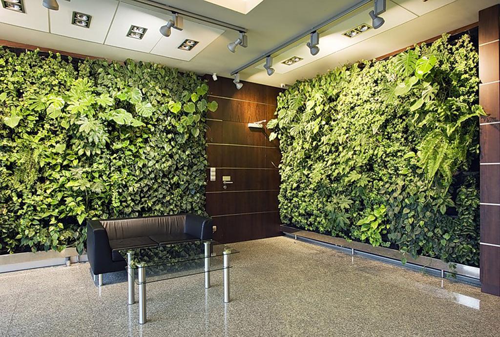 Кожаный диван и столик в окружении стен из растений