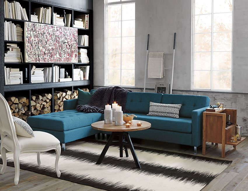 Стёганый секционный синий диван Павлин от CB-2