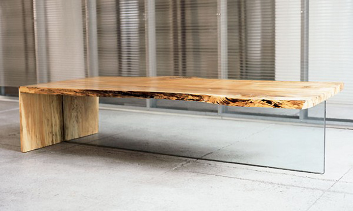 The conceptual creation of wood and glass: the original coffee table by John Hauschmand