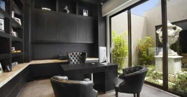 Интерьер офиса в черном цвете